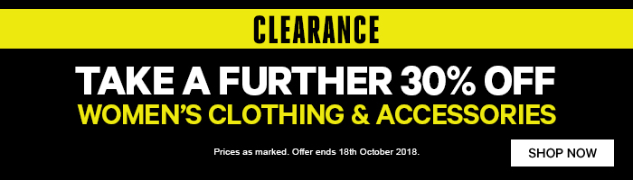 Take a further 30% off Women's Clearance Clothing & Accessories