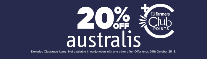 20% off australis. excludes clearance items.