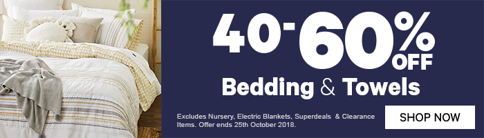 40-60% off Bedding & Towels