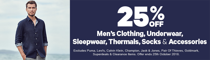 25% off Men's Clothing, Underwear, Sleepwear, Thermals, Socks & Accessories