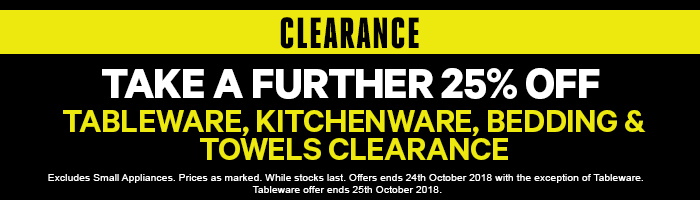 Take a further 25% off Clearance Tableware