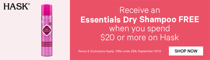 receive an essentials dry shampoo free when you spend $20 or more on hask