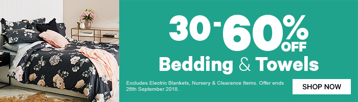 30-60% off Bedding & Towels