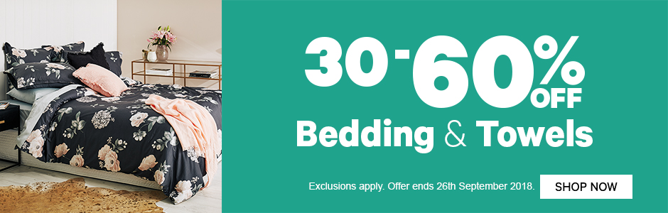 New Season Home Catalogue: 30-60% off Bedding & Towels