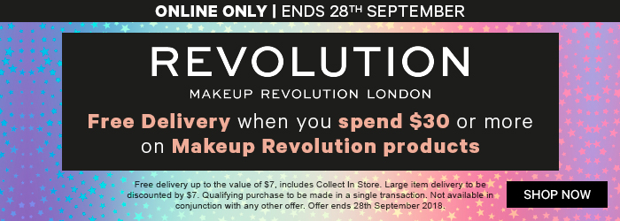 online only ends 28th September free delivery when you spend $30 or more on makeup revolution products