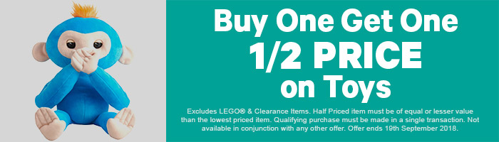 Buy 1, Get 1 Half Price on Toys - Must end 19th September!