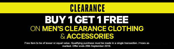 Buy 1 get 1 FREE* on Men's Clearance Clothing & Accessories