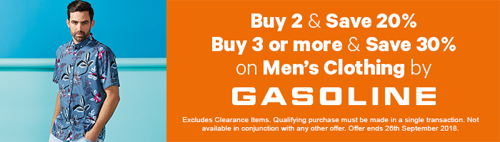 Buy 2 & save 20%, Buy 3 & save 30% on men's Gasoline
