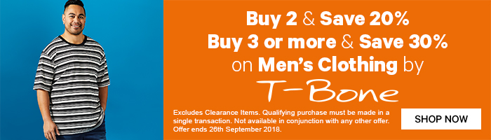 Buy 2 save 20%, buy 3 or more save 30% on Men's Clothing by T-Bone