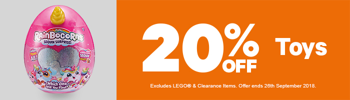 20% Off Toys - Must end 26th September!