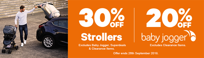 30% Off Strollers | 20% Off Baby Jogger - Must end 26th September!