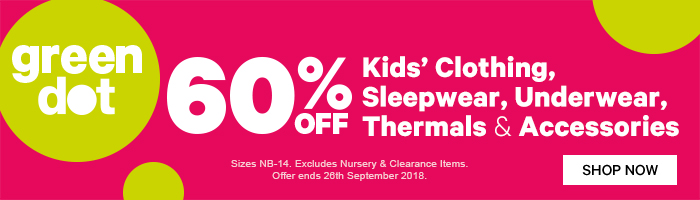 60% off Kids' Green Dot Clothing, Sleepwear, Underwear, Thermals & Accessories