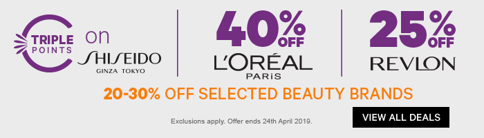 Triple Points on Shiseido, 40% off L'Oreal & 25% off Revlon + 20-30% off Selected Beauty Brands