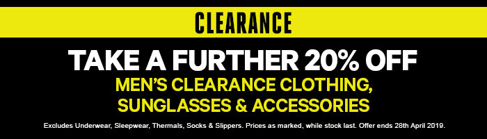 Take a Further 20% off Men's Clearance Clothing & Accessories