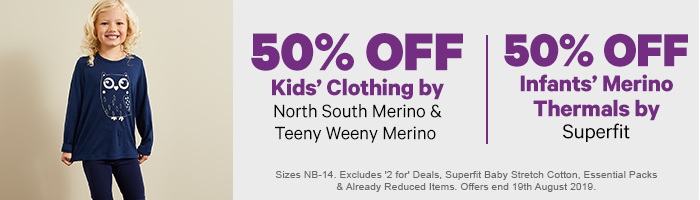 50% off  Teeny Weeny Merino & North South Merino | 50% off Infants' Thermals by Superfit