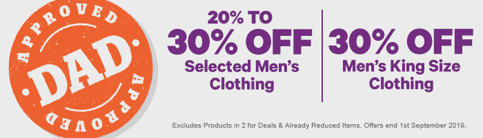 20% To 30% off Selected Men's Clothing|30% off Men's King Size Clothing