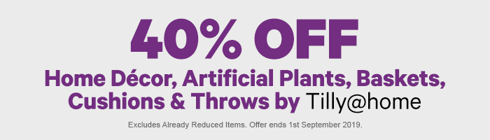 40% off Home Decor, Artificial Plants, Cushions & Throws by Tilly@home