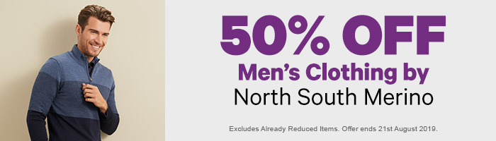 50% off Men's Clothing by North South Merino