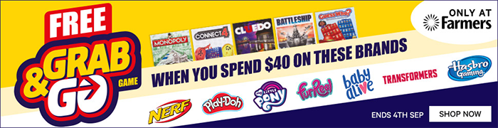 Free Grab & Go Game when you spend $40 on selected brands