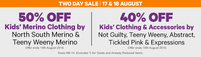 50% off Kids' Merino Clothing by North South Merino & Teeny Weeny Merino | 40% off Kids' Clothing & Accessories by Not Guilty, Abstract, Tickled Pink, Expressions Bravado