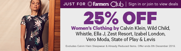 25% off Women's Clothing by Calvin Klein, Wild Child, Whistle, Ella J, Zest Resort, Izabel London, Vero Moda, State of Play & Levis