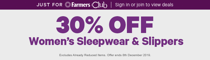 30% off Women's Sleepwear & Slippers