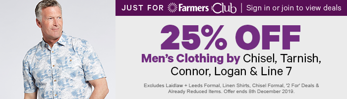 25% off Men's Clothing by Chisel, Logan, Tarnish, Connor & Line 7