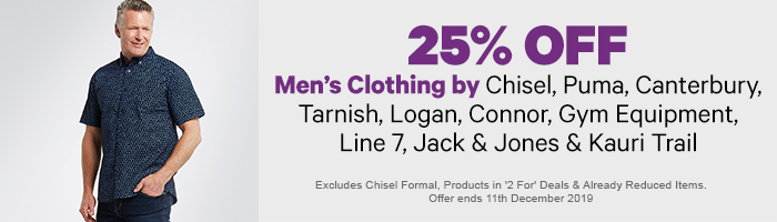 25% off Men's Clothing by Chisel, Puma, Canterbury, Tarnish, Logan, Line 7, Gym Equipment & Kauri Trail
