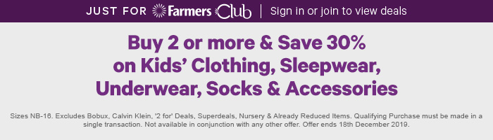 Buy 2 or more & save 30% on Kids' Clothing, Sleepwear, Underwear, Socks & Accessories