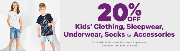 20% off kids' clothing, sleepwear, underwear, socks, and accessories