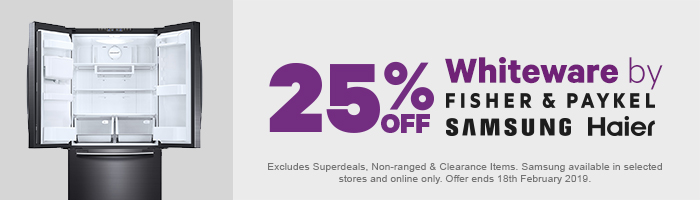 25% off Whiteware by Fisher & Paykel, Samsung & Haier