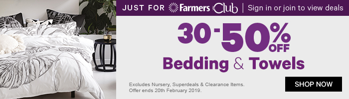 30-50% off Bedding & Towels