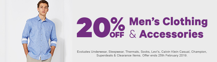 20% off Men's Clothing & Accessories