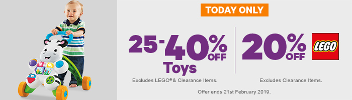 25-40% off Toys, 20% off LEGO
