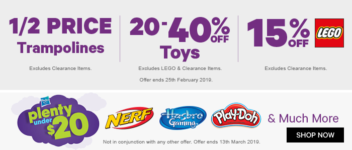 1/2 PRICE TRAMPOLINES, 20-40% off Toys, 15% off Lego