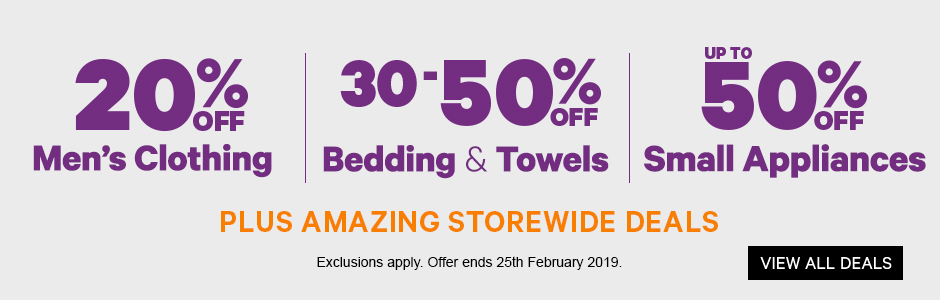 20% off Men's Clothing | 30-50% off Bedding & Towels | Up to 50% off Small Appliances