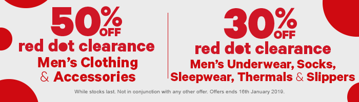 1/2 price red dot clearance men's clothing & acc | 30% off red dot clearance men's underwear, socks, sleepwear, thermals & slippers