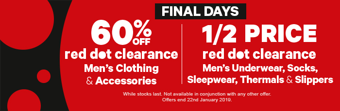 60% off red dot clearance men's clothing & acc | half price red dot clearance men's underwear, socks, sleepwear, thermals & slippers