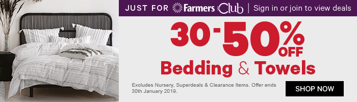 30-50% off bedding and towels