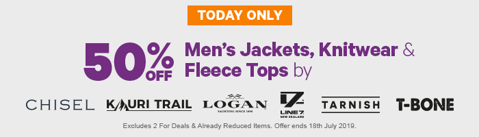 50% off Men's Jackets, Knitwear & Fleece Tops by Chisel, Kauri Trail, Logan, Line 7, Tarnish, T-Bone