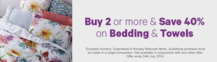 Buy 2 or more & save 40% on Bedding & Towels