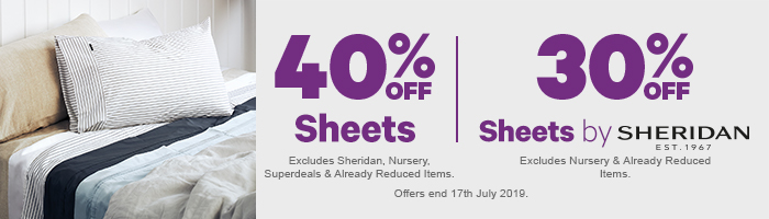 40% off Sheets | 30% off Sheets by Sheridan