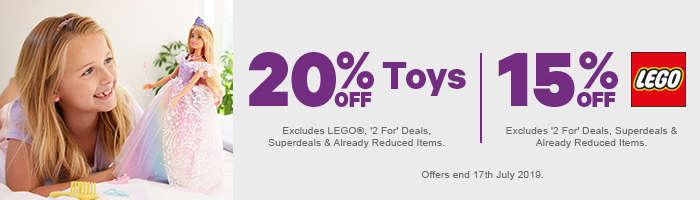 20% off Toys, 15% off Lego
