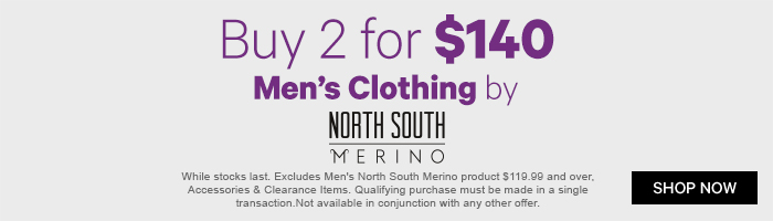 Buy 2 for $140 Men's Clothing by North South Merino