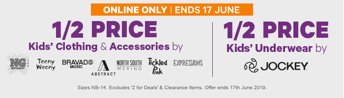 1/2 Price Kids' Selected Kids' Clothing & Accessories & 1/2 Price Kids' Underwear by Jockey