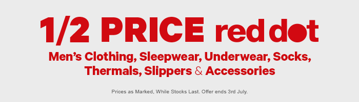 Shop Men's Red Dot Clothing, Sleepwear, Underwear, Thermals, Slippers & Accessories