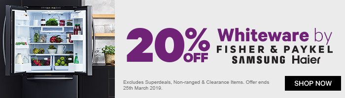 20% off Whiteware by F&P, Samsung, Haier