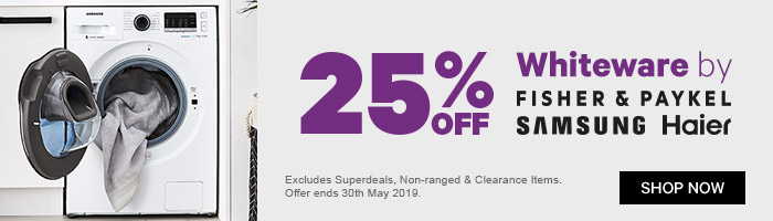 25% off whiteware by Fisher & Paykel, Samsung, Haier