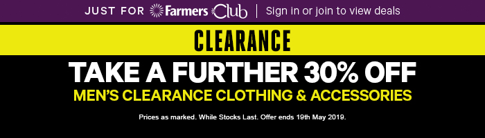 Further 30% off Men's Clearance Clothing & Accessories