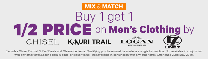 Buy 1 get 1 Half Price on Men's Clothing by Chisel, Kauri Trail, Logan & Line 7